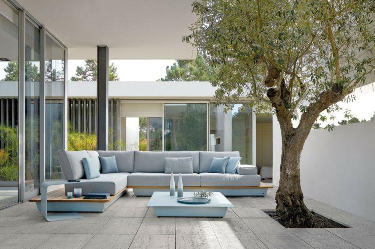 sofa azul bonita jardin opciones ideas