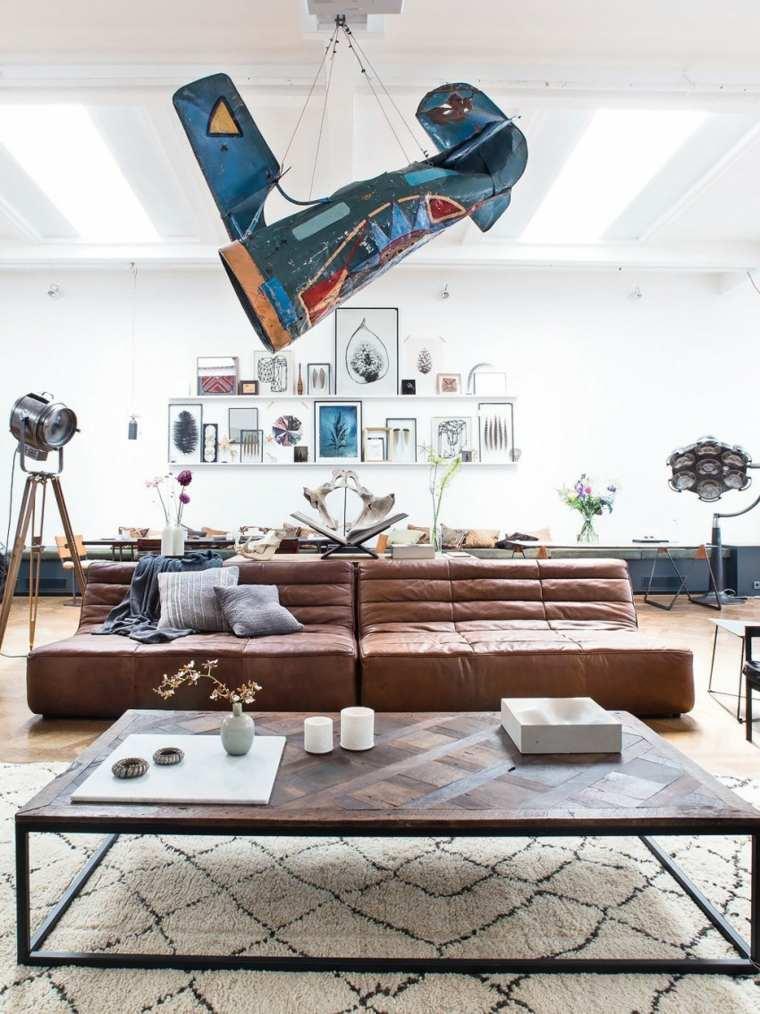 sofa cuero loft lamparas cuadros opciones ideas