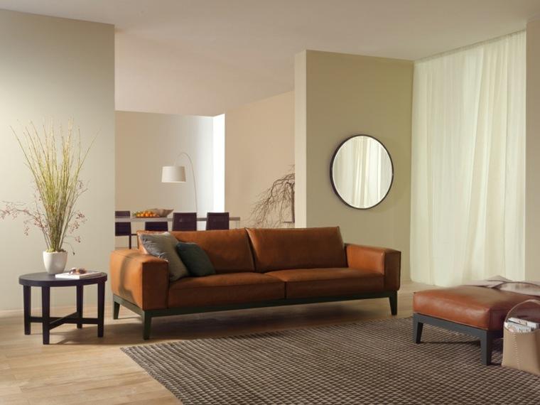 sofa cuero marron taburete mesa madera ideas