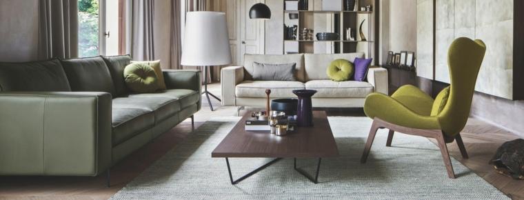 sofa cuero verde sillon mesa madera ideas