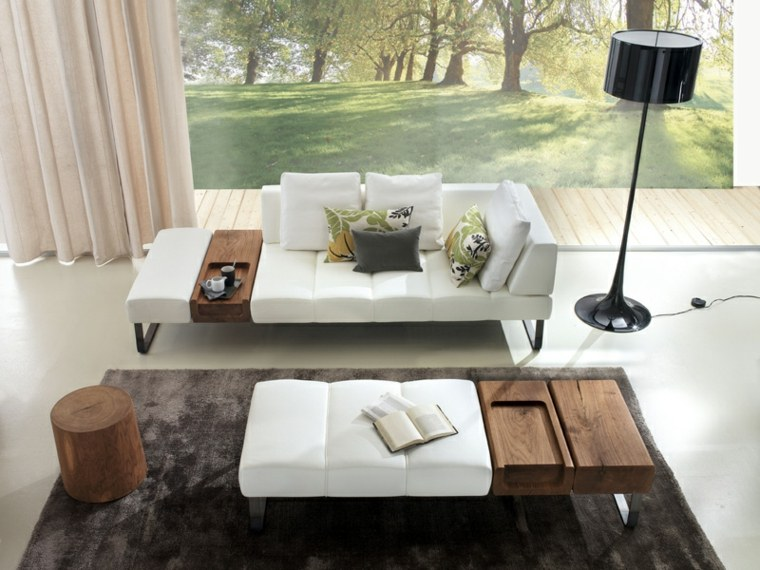 sofa mesa blanca toques madera salon moderno ideas