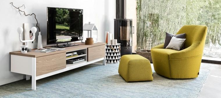 sofa taburete amarillo muebles madera ideas