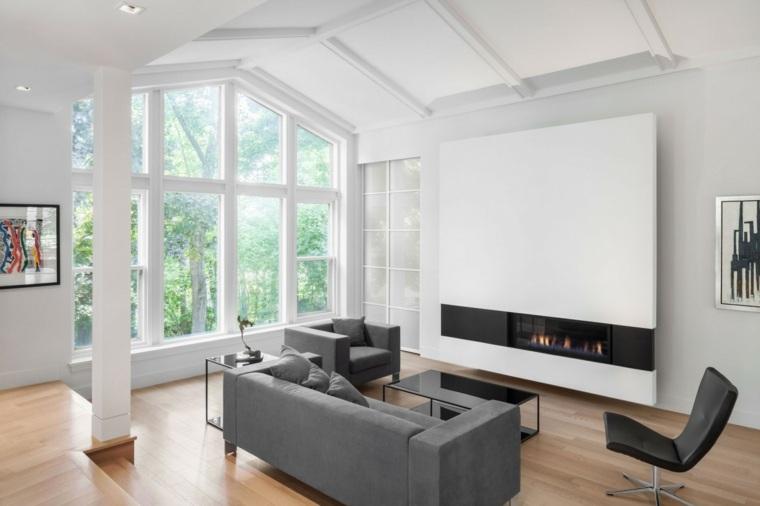sofas grices suelo madera salon chimenea ideas