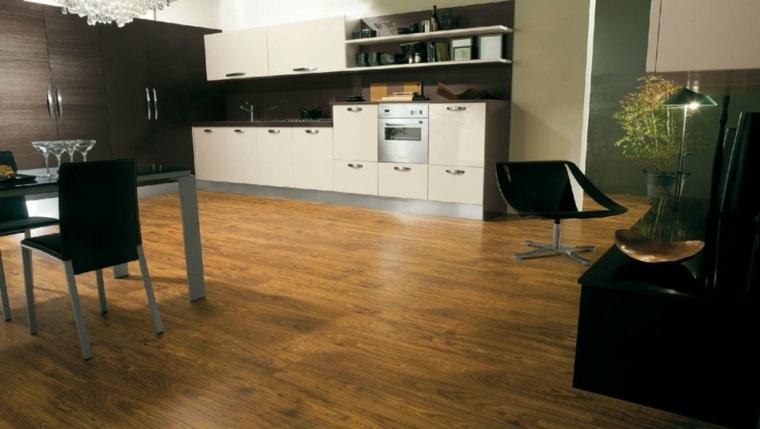 suelo laminado cocina comedor armarios pared ideas