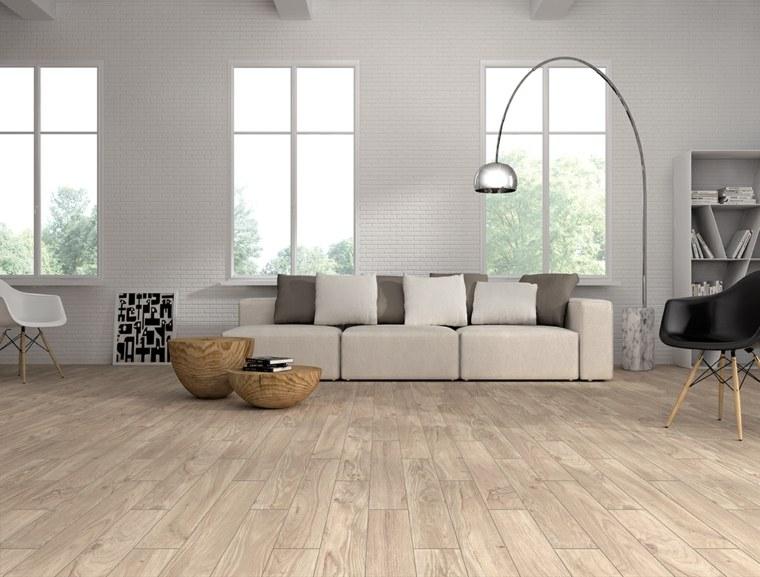 suelo laminado mesas madera pared ladrillo ideas