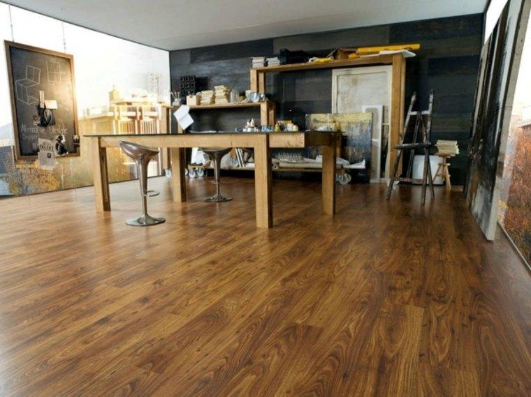 suelo laminado muebles madera oficina ideas