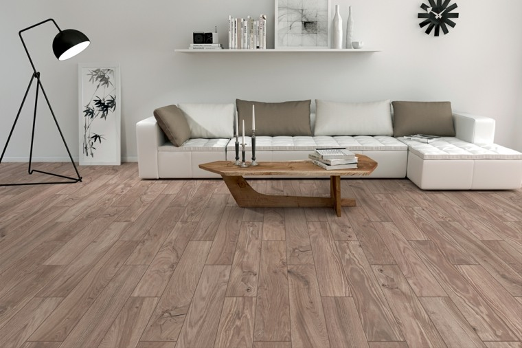 suelos laminado sofa blanca mesa madera ideas