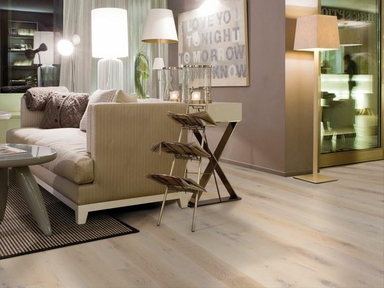 suelo parquet alfombra lamparas salon ideas