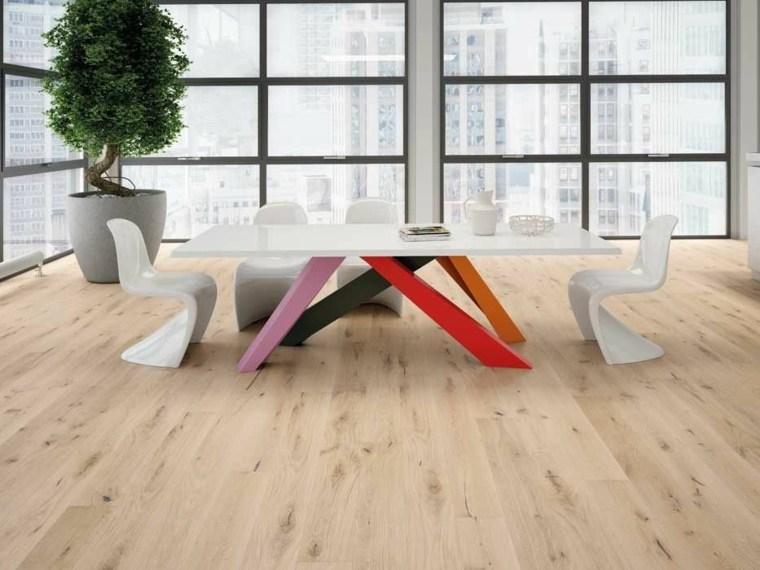 suelo parquet comedor mesa colorida ideas