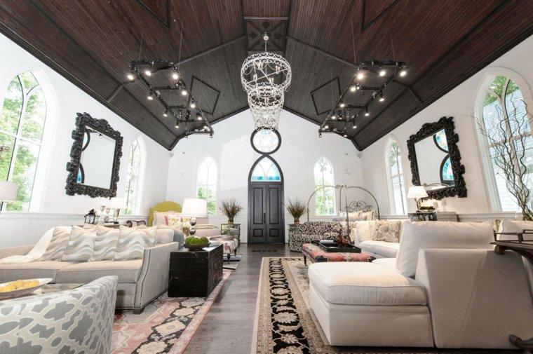 Decoracion salon moderno 50 dise os en blanco y madera - Techos de madera blanco ...