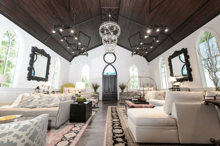 techo madera negra muebles blancos ideas