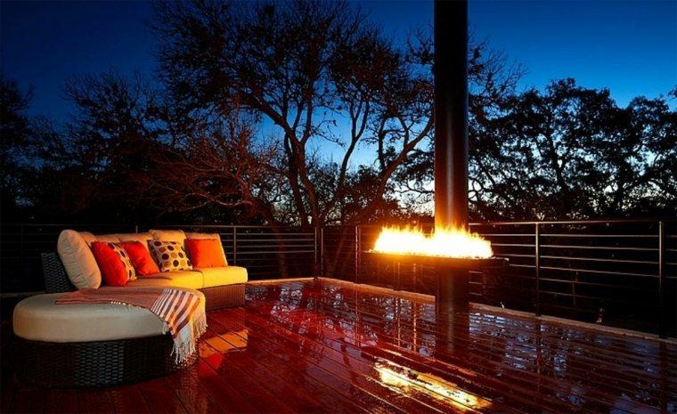terraza fuego calor precioso noche ideas
