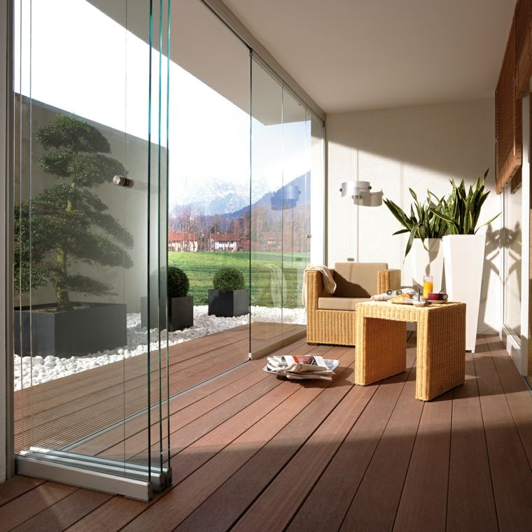 terraza lujosa moderna acristalada