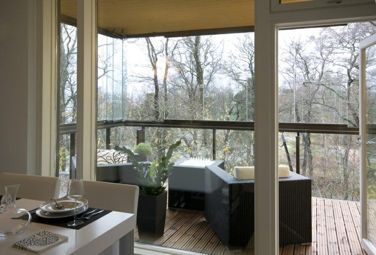 terraza moderna cerrada muebles mimbre