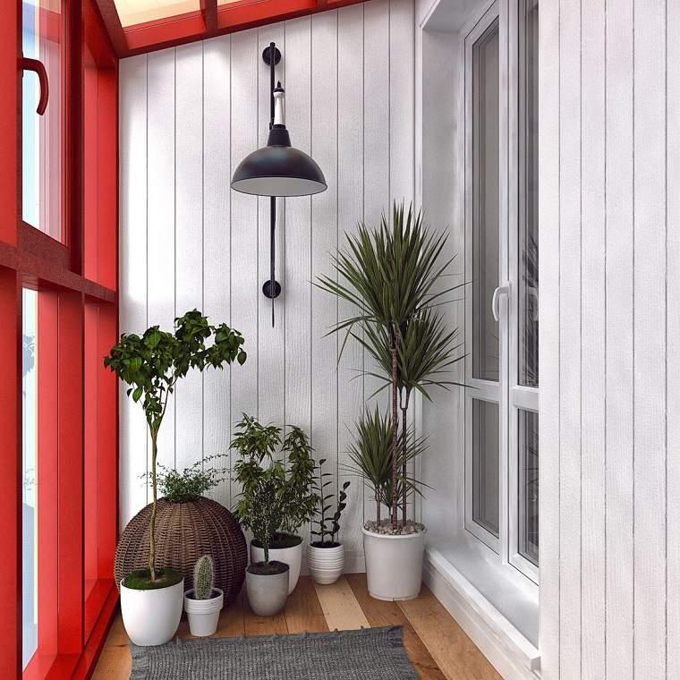 terraza moderna pequeña plantas