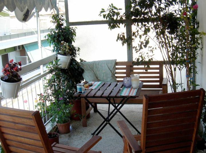 terraza pequeña muebles madera