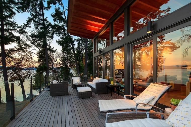 terraza preciosa tumbonas muebles rattan ideas