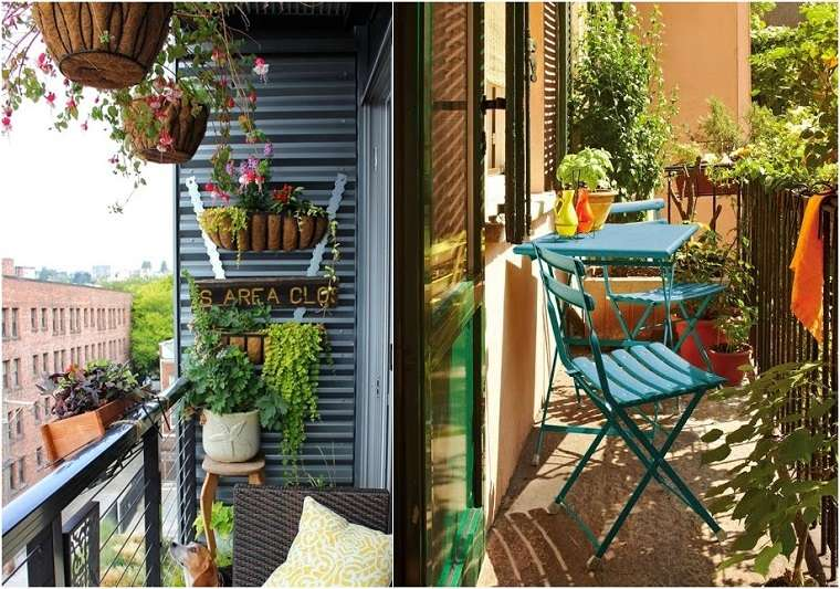 Decoracion de balcones y terrazas peque as 99 ideas - Decorar balcon pequeno ...
