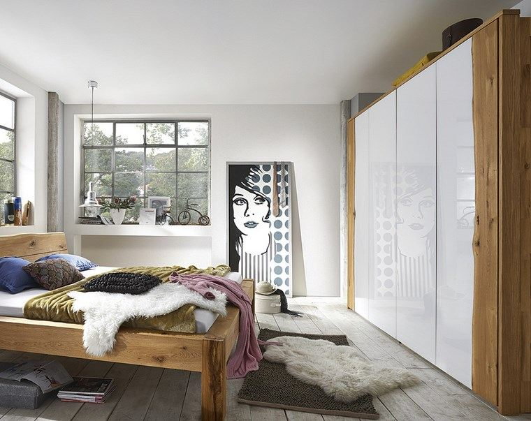 tipos madera armarios dormitorio cama grande ideas