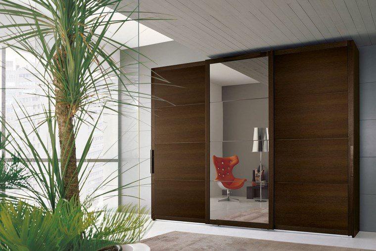 tipos madera armarios dormitorio color oscuro espejo ideas