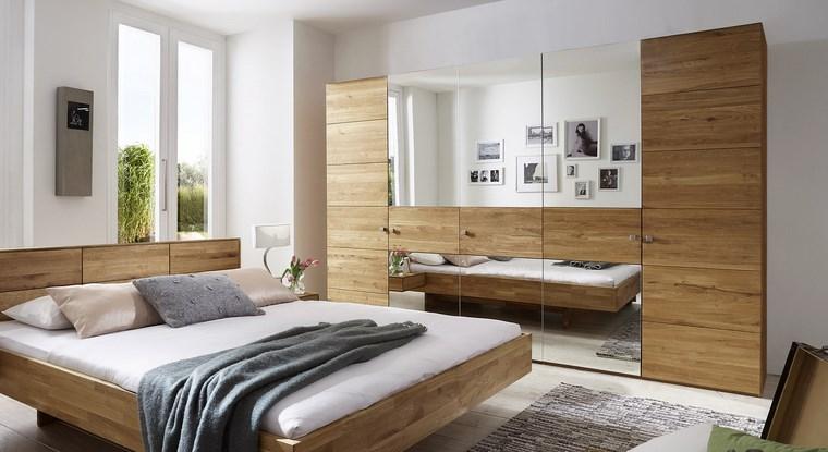 madera armarios dormitorio espejos cama ideas