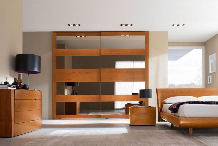 madera armarios dormitorio espejos horizontal ideas
