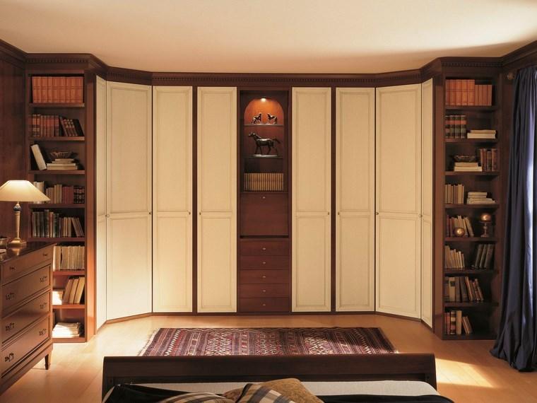 madera armarios dormitorio estantes madera ideas