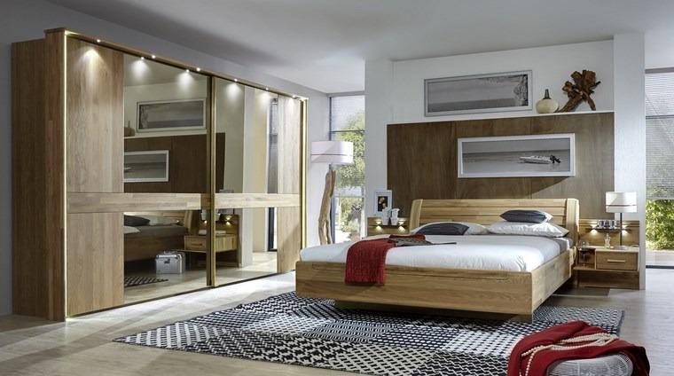 madera armarios dormitorio iluminacion LED ideas