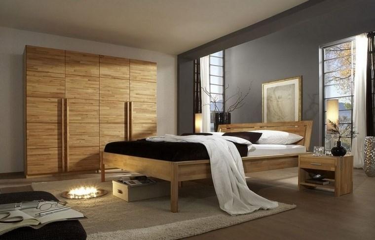 madera armarios dormitorio moderno cama ideas