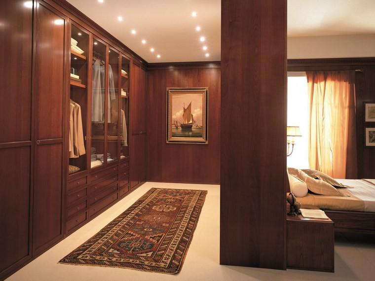 madera armarios dormitorio pared separadora ideas