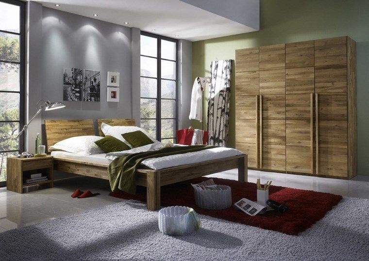 madera armarios dormitorio pared verde ideas