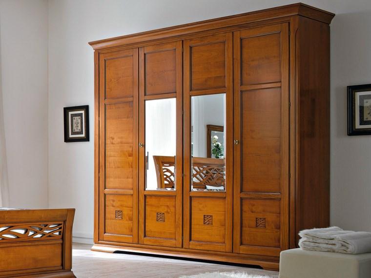 madera armarios dormitorio pequenos espejos puertas ideas