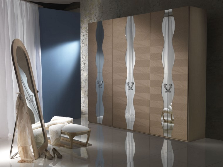 madera armarios dormitorio puerta laminas espejo ideas