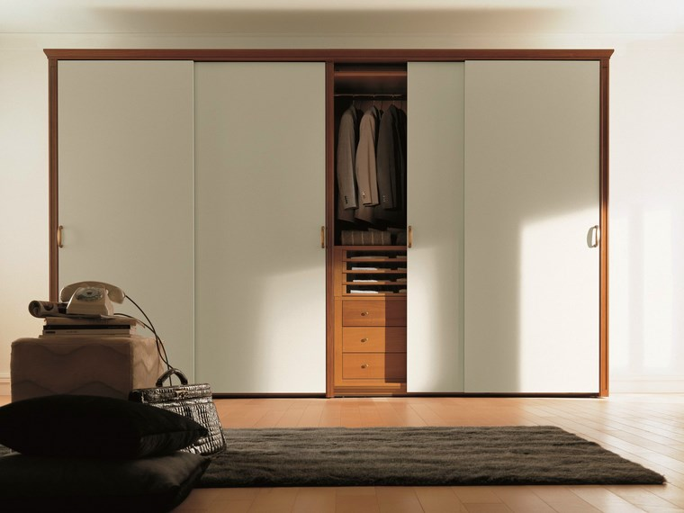 madera armarios dormitorio puertas correderas blancas ideas