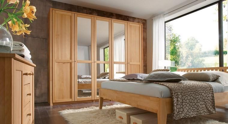 madera armarios dormitorio puertas espejo luminoso ideas