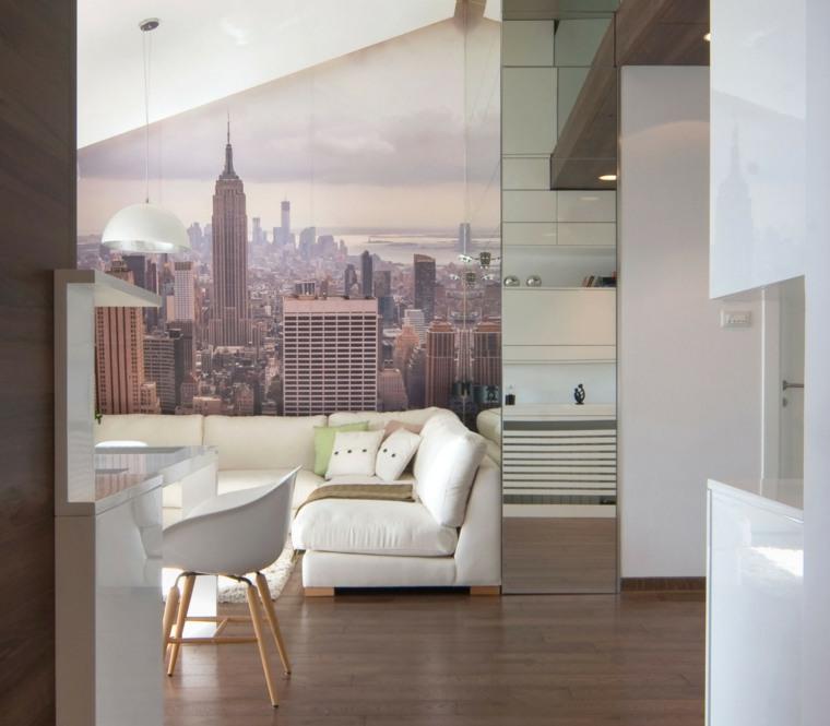 papel de pared sofa silla modernos blancos