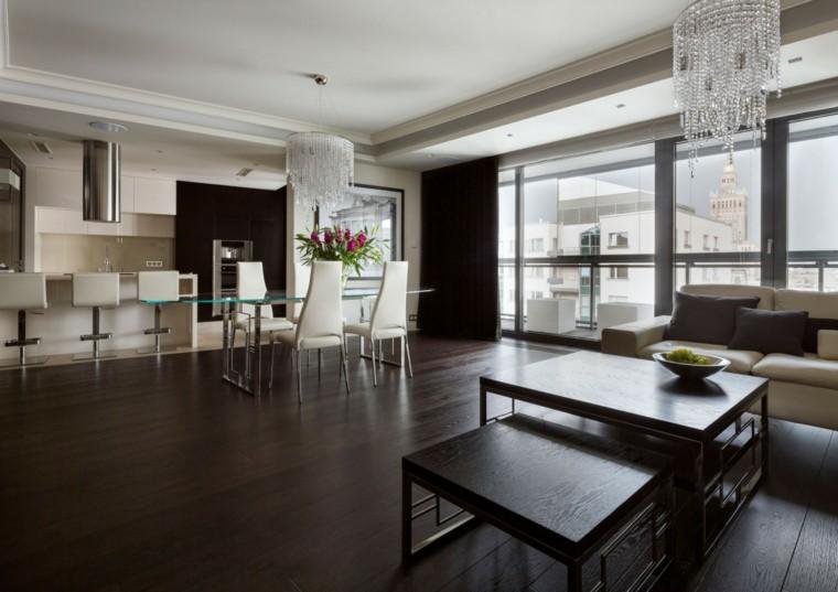 Decoracion salon moderno 50 dise os en blanco y madera for Decoracion piso oscuro