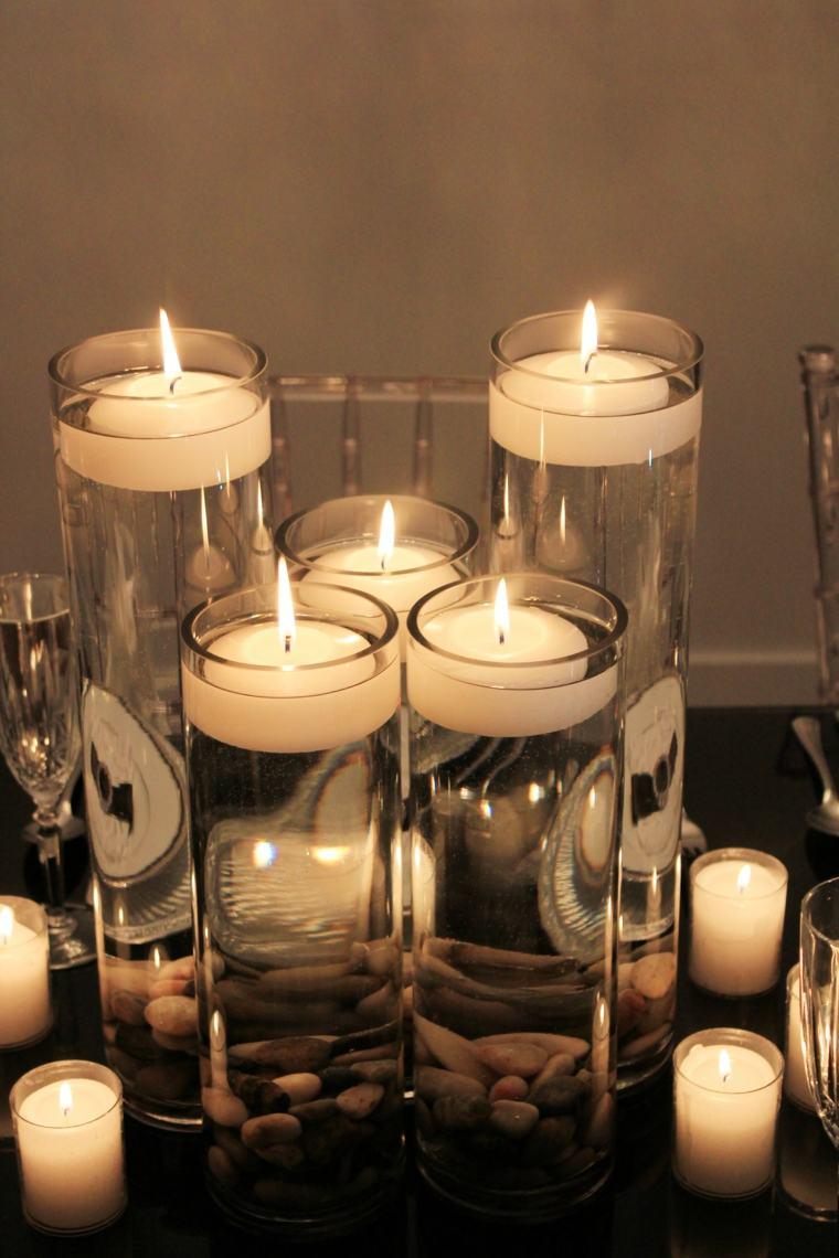 vasos tubo velas piedras