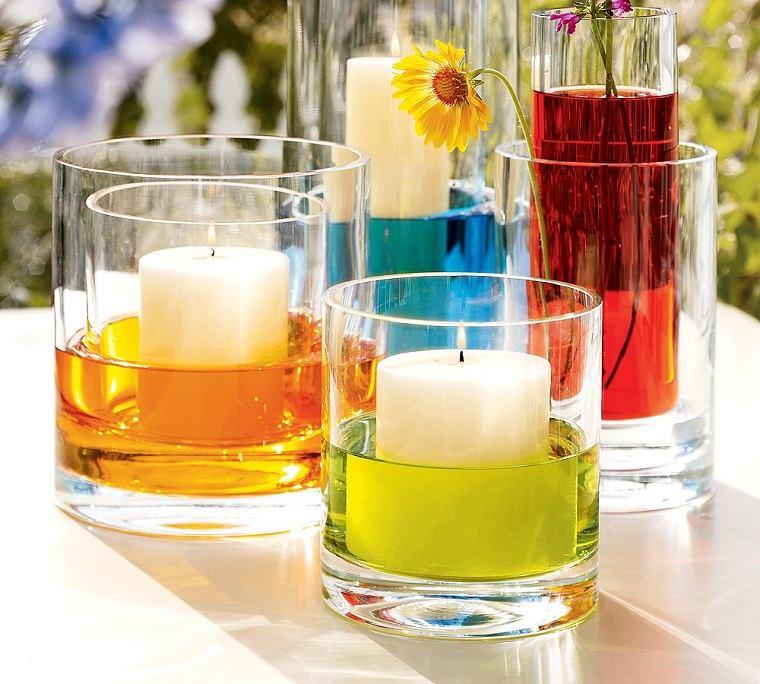 velas flotantes envases colores modernos