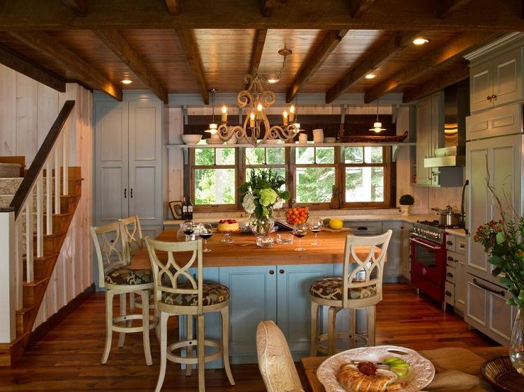 interiores casas de campo diseño pendientes vigas