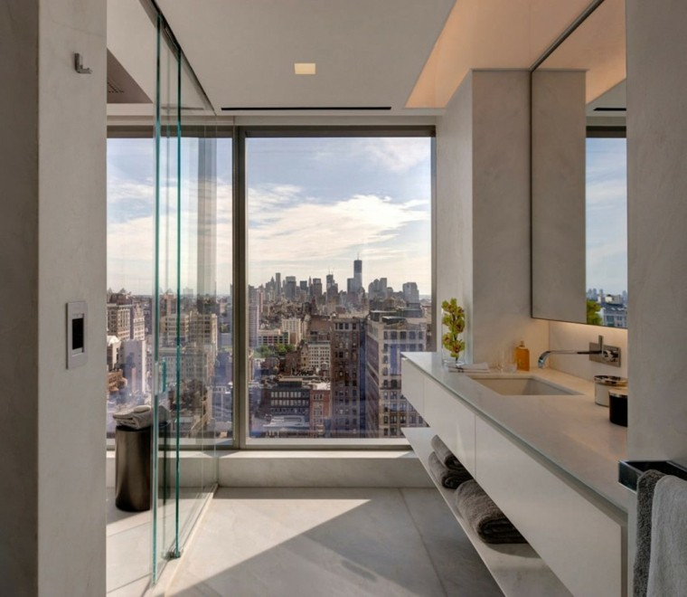 vistas bano cristal ventanas ducha techo ideas