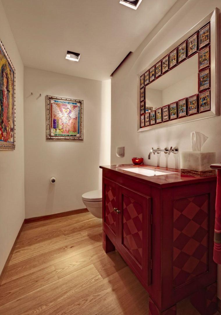 Lopez Duplan Arquitectos apartamento bano lavabo rojo ideas