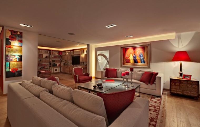 Lopez Duplan Arquitectos apartamento salon acentos rojos ideas