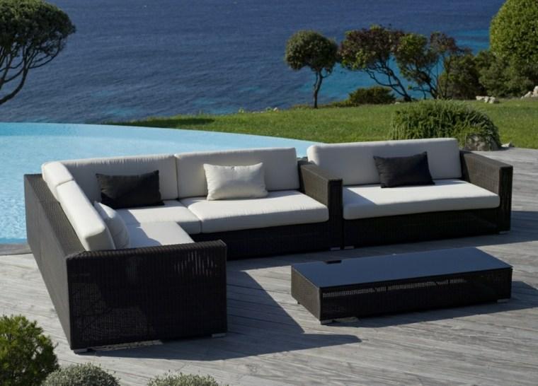 Sofas jardin diseño mimbre negro