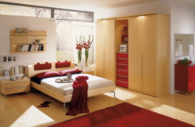 alfombra almohadas armario acentos rojo ideas