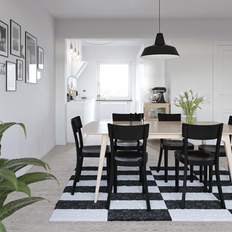alfombra comedor blanco negro