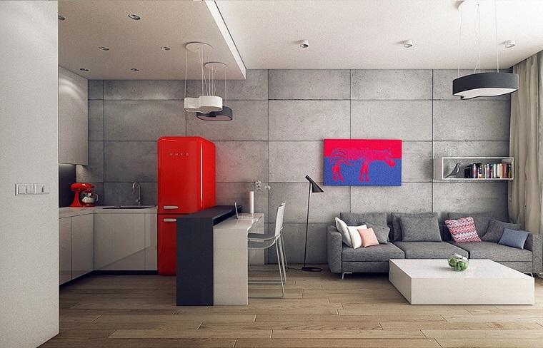 apartamento moderno frigorifico rojo interesante ideas