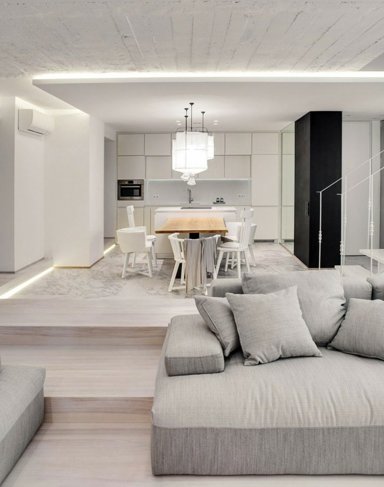 apartamento monocromatico cocina blanca ideas