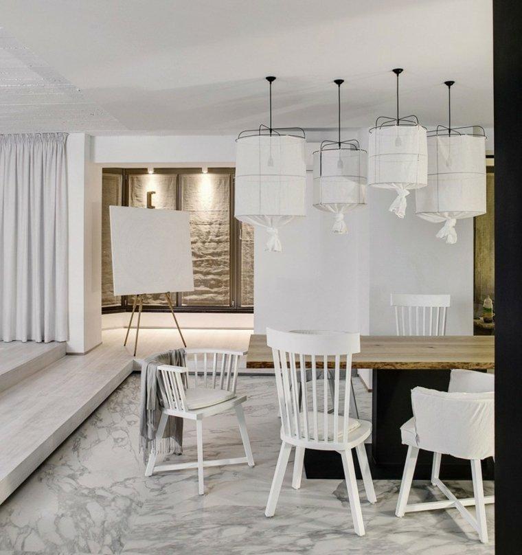apartamento monocromatico cocina comedor lamparas ideas