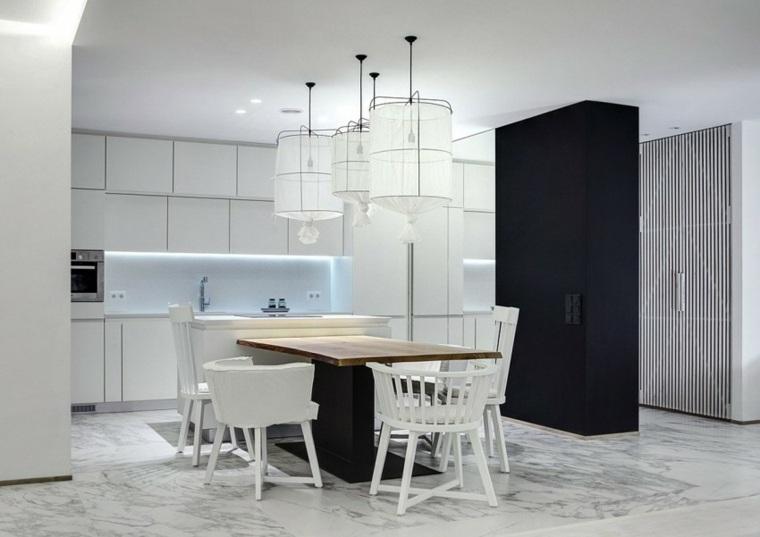 apartamento monocromatico cocina comedor ideas